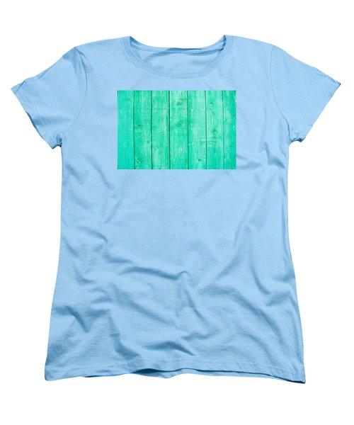 Women's T-Shirt (Standard Cut) featuring the photograph Fading Aqua Paint On Wood by John Williams