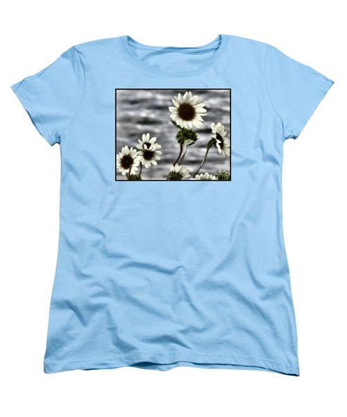 Women's T-Shirt (Standard Cut) featuring the photograph Fading Sunflowers by Susan Kinney
