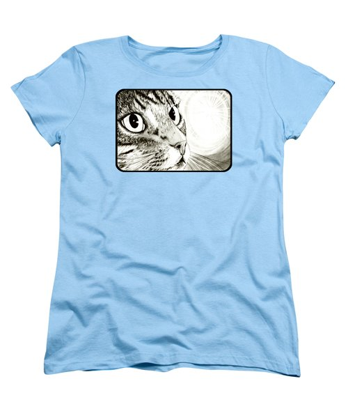 Women's T-Shirt (Standard Cut) featuring the drawing Fairy Light Tabby Cat Drawing by Carrie Hawks
