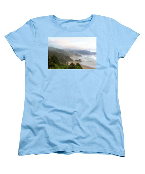 Falcon And Silver Point At Oregon Coast Women's T-Shirt (Standard Fit)