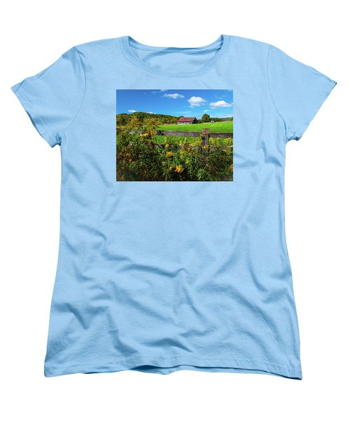Women's T-Shirt (Standard Cut) featuring the photograph Fall Farm by Rebecca Hiatt