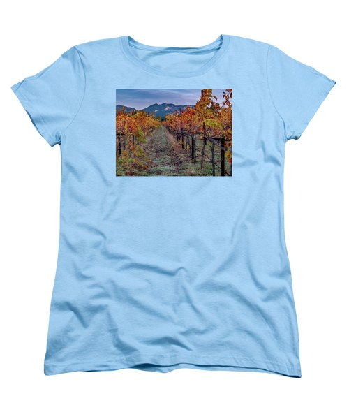 Women's T-Shirt (Standard Cut) featuring the pastel Fall In Wine Country by Bill Gallagher