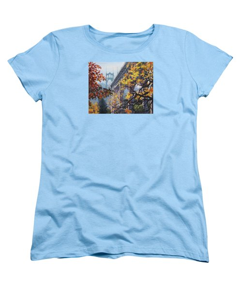 Women's T-Shirt (Standard Cut) featuring the painting Fall St Johns by Karen Ilari
