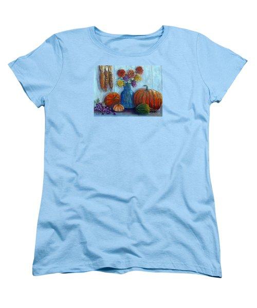 Women's T-Shirt (Standard Cut) featuring the painting Autumn Still Life by Lou Ann Bagnall
