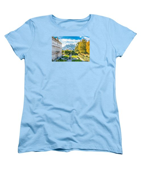 Famous Mirabell Gardens With Historic Fortress In Salzburg, Aust Women's T-Shirt (Standard Cut) by JR Photography