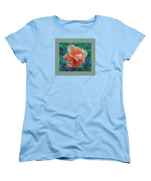 Fancy Peach Hibiscus Women's T-Shirt (Standard Cut) by Sandi OReilly