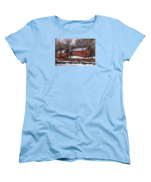 Farm - Barn - Winter In The Country  Women's T-Shirt (Standard Cut) by Mike Savad