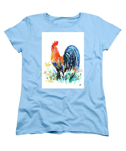 Women's T-Shirt (Standard Cut) featuring the painting Farm Rooster by Zaira Dzhaubaeva