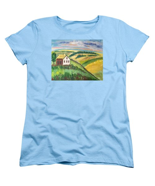 Women's T-Shirt (Standard Cut) featuring the painting Farmhouse On A Hill by Diane Pape