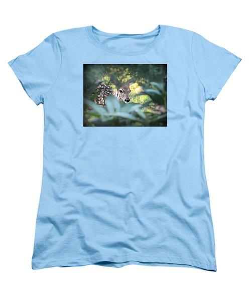 Fawn Peeking Through Bushes Women's T-Shirt (Standard Cut)