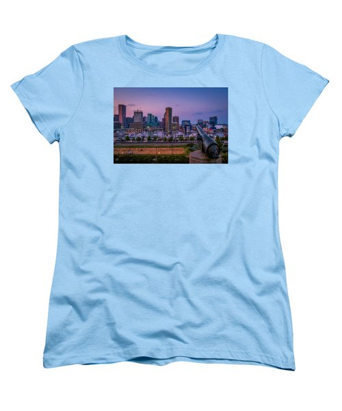 Federal Hill In Baltimore Maryland Women's T-Shirt (Standard Cut) by Susan Candelario