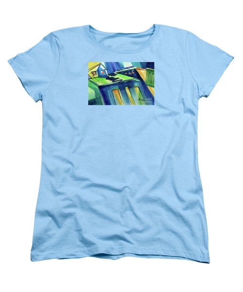 Women's T-Shirt (Standard Cut) featuring the painting Feedmill In Blue And Green by Kathy Braud