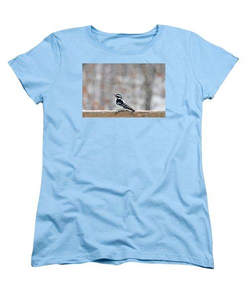 Female Downy Woodpecker Women's T-Shirt (Standard Cut) by Diane Giurco