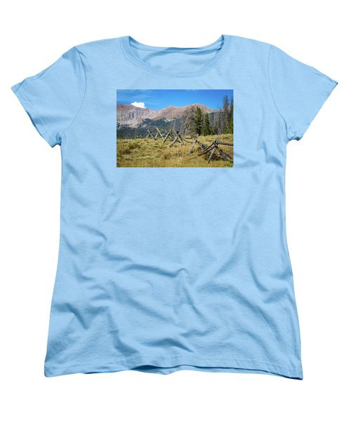 Women's T-Shirt (Standard Cut) featuring the photograph Fences Into The Rockies by Dawn Romine