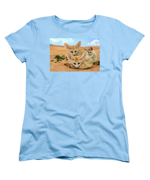 Women's T-Shirt (Standard Cut) featuring the digital art Fennec Foxes by Thanh Thuy Nguyen