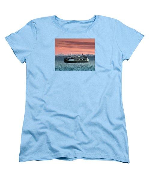 Ferry Cathlamet At Dawn.1 Women's T-Shirt (Standard Cut) by E Faithe Lester