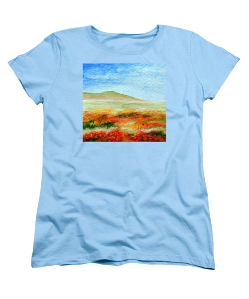 Women's T-Shirt (Standard Cut) featuring the painting Field Of Poppies by Jamie Frier