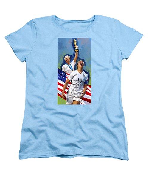 Women's T-Shirt (Standard Cut) featuring the painting Fifa World Cup U.s Women Soccer Carli Lloyd Abby Wambach Artwork by Sheraz A