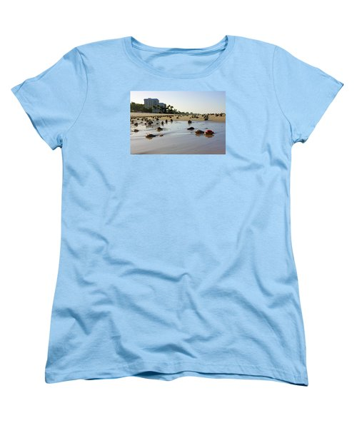 Women's T-Shirt (Standard Cut) featuring the photograph Fighting Conchs At Lowdermilk Park Beach In Naples, Fl  by Robb Stan