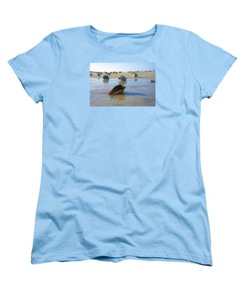 Women's T-Shirt (Standard Cut) featuring the photograph Fighting Conchs On The Sandbar by Robb Stan