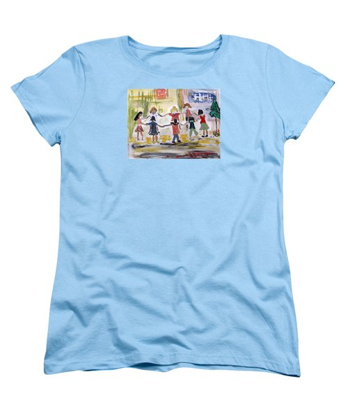 Women's T-Shirt (Standard Cut) featuring the painting Finding Time To Play by Mary Carol Williams