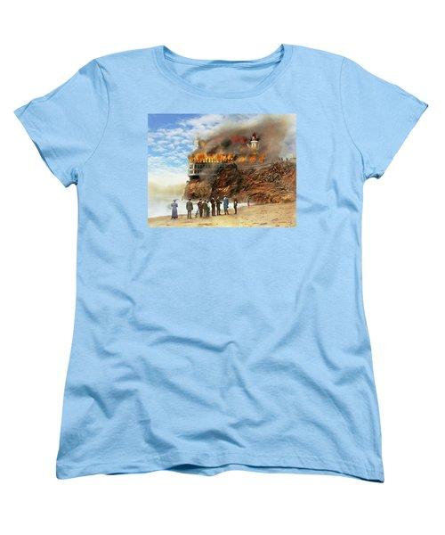 Women's T-Shirt (Standard Cut) featuring the photograph Fire - Cliffside Fire 1907 by Mike Savad