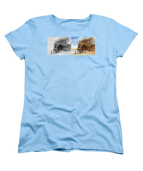 Women's T-Shirt (Standard Cut) featuring the photograph Fire - Cliffside Fire 1907 - Side By Side by Mike Savad