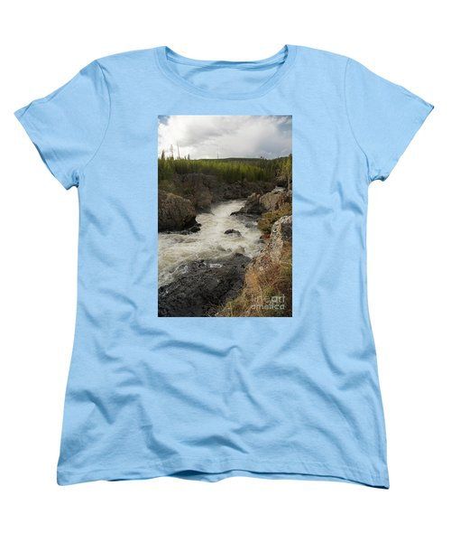 Firehole River Cascade Women's T-Shirt (Standard Cut) by Cindy Murphy - NightVisions