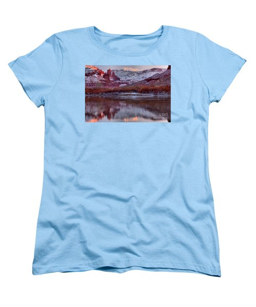 Women's T-Shirt (Standard Cut) featuring the photograph Fisher Towers Fading Sunset by Adam Jewell