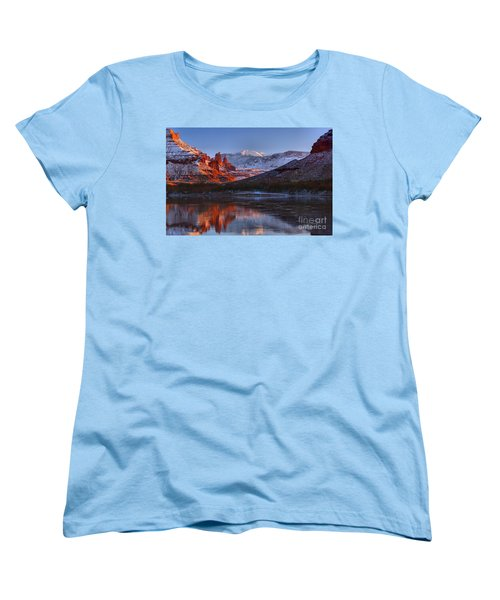 Women's T-Shirt (Standard Cut) featuring the photograph Fisher Towers Glowing Reflections by Adam Jewell