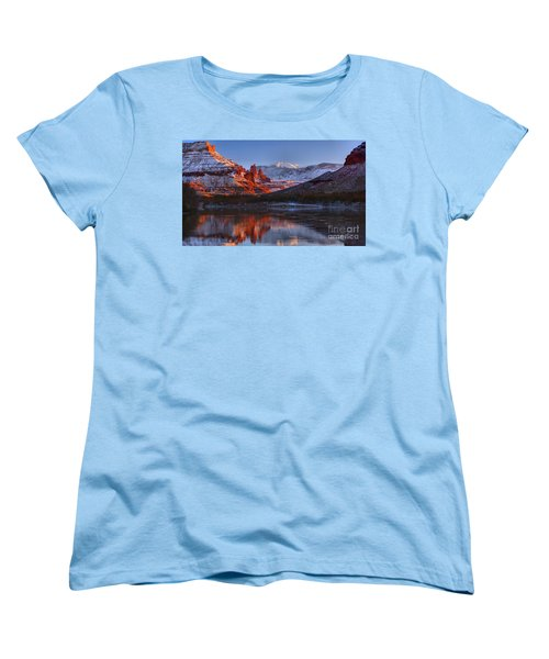 Women's T-Shirt (Standard Cut) featuring the photograph Fisher Towers Sunset Glow Panorama by Adam Jewell