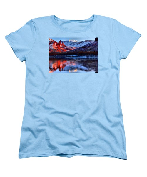 Women's T-Shirt (Standard Cut) featuring the photograph Fisher Towers Sunset Winter Landscape by Adam Jewell