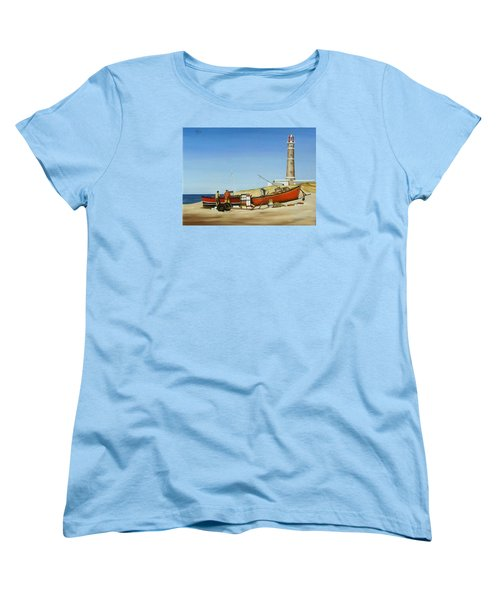 Women's T-Shirt (Standard Cut) featuring the painting Fishermen By Lighthouse by Natalia Tejera