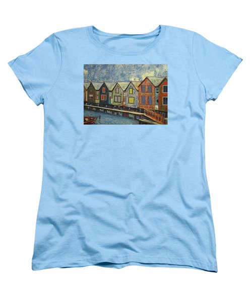 Women's T-Shirt (Standard Cut) featuring the painting Fishermen Huts by Walter Casaravilla