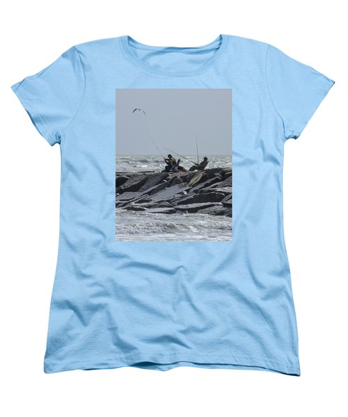 Fishermen With Seagull Women's T-Shirt (Standard Cut) by Allen Sheffield