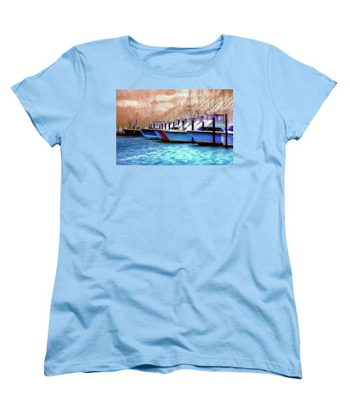 Women's T-Shirt (Standard Cut) featuring the painting Fishing Boats Of The Outer Banks Ap by Dan Carmichael
