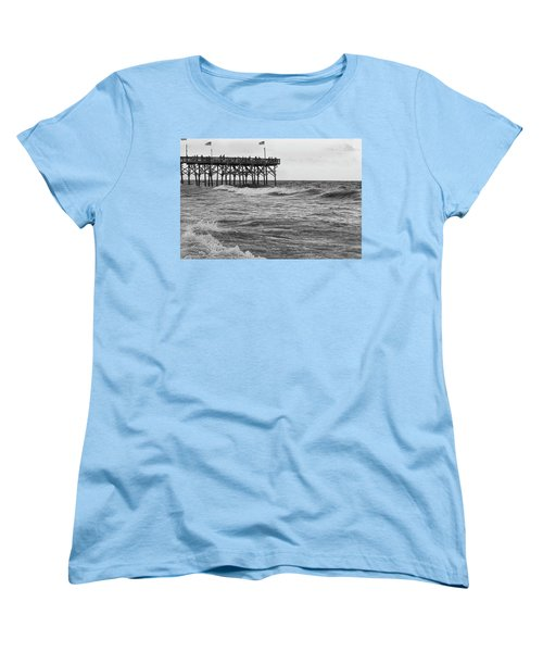 Women's T-Shirt (Standard Cut) featuring the photograph Fishing Off The Pier At Myrtle Beach by Chris Flees