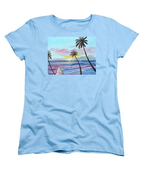 Fishing Pier Sunset Women's T-Shirt (Standard Cut) by Lloyd Dobson