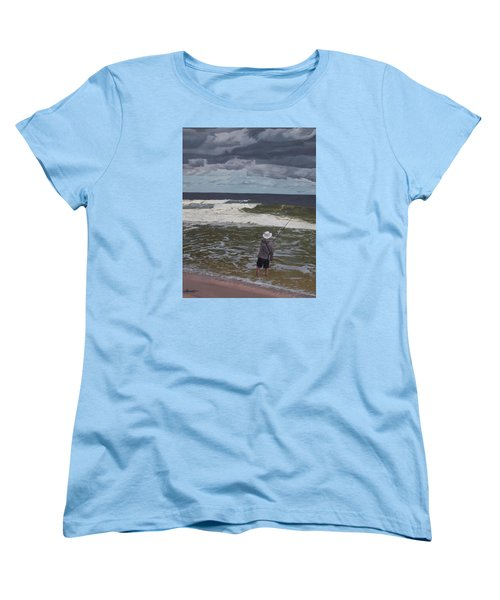 Fishing The Surf In Lavallette, New Jersey Women's T-Shirt (Standard Cut) by Barbara Barber