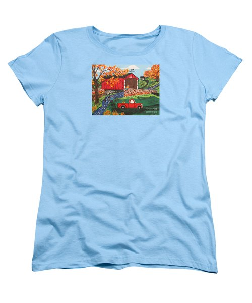 Women's T-Shirt (Standard Cut) featuring the painting Fishing Under The  Covered Bridge by Jeffrey Koss