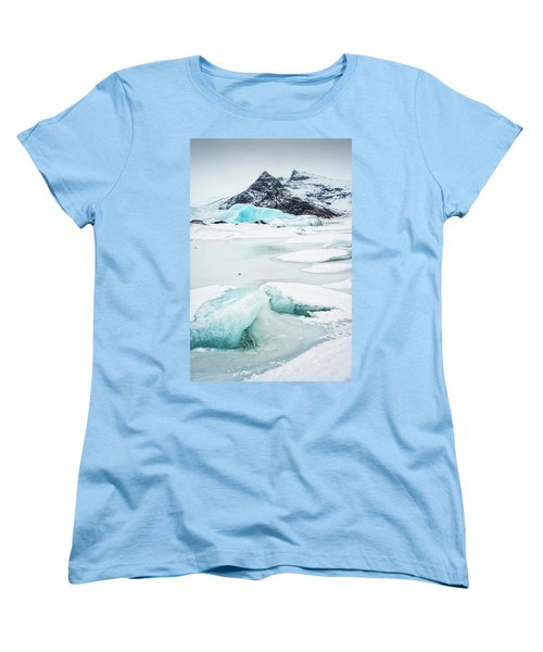 Women's T-Shirt (Standard Cut) featuring the photograph Fjallsarlon Glacier Lagoon Iceland In Winter by Matthias Hauser