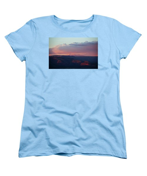 Flagstaff's San Francisco Peaks Snowy Sunset Women's T-Shirt (Standard Cut) by Ron Chilston