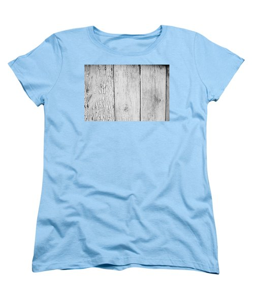 Women's T-Shirt (Standard Cut) featuring the photograph Flaking Grey Wood Paint by John Williams