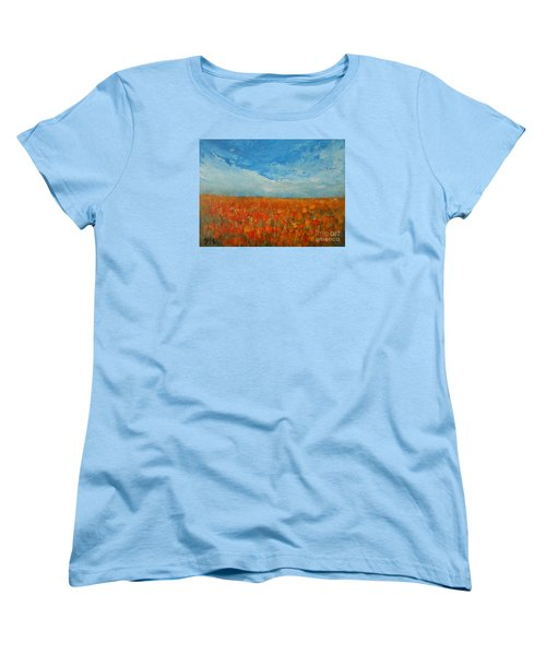 Women's T-Shirt (Standard Cut) featuring the painting Flaming Orange by Jane See