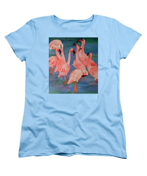 Flamingo Convention In The Square Women's T-Shirt (Standard Cut) by Judy Mercer