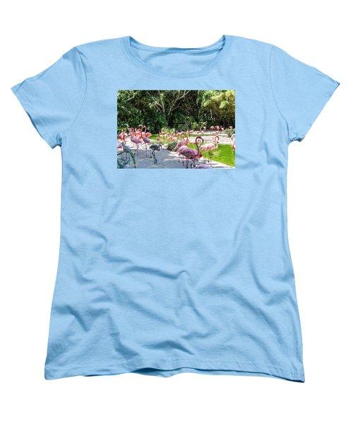Flamingo Flock Women's T-Shirt (Standard Cut)