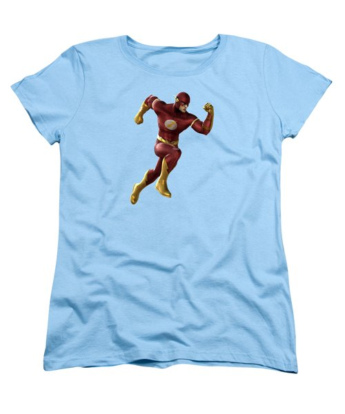 Women's T-Shirt (Standard Cut) featuring the mixed media Flash Splash Super Hero Series by Movie Poster Prints