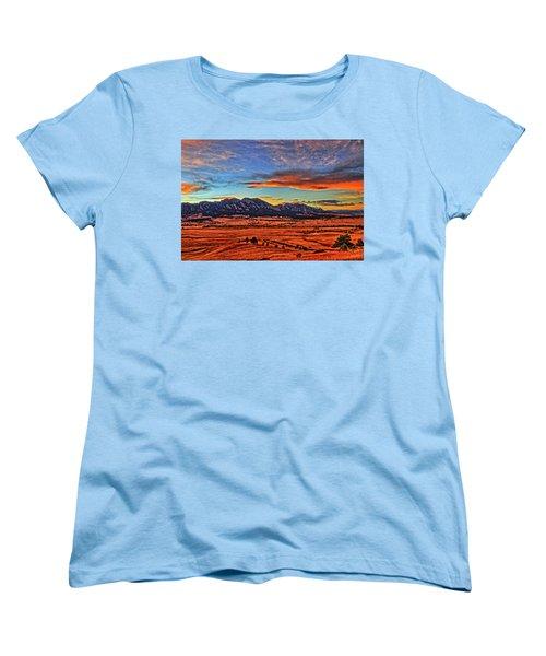 Women's T-Shirt (Standard Cut) featuring the photograph Flatiron Sunset Fire Red by Scott Mahon