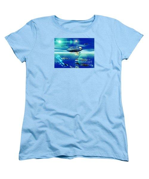 Women's T-Shirt (Standard Cut) featuring the digital art Fleet Aqua by Jacqueline Lloyd