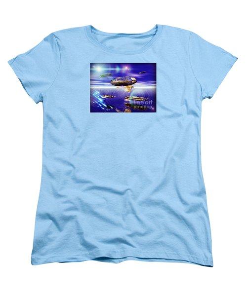 Women's T-Shirt (Standard Cut) featuring the digital art Fleet Tropical by Jacqueline Lloyd